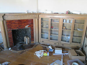Antique Oak Fireplace Mantel With Bookcases 42 Opening Architectural Salvage