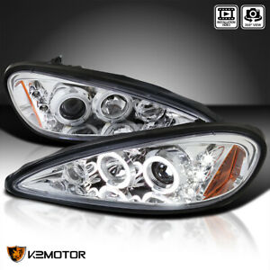 For 1999 2005 Pontiac Grand Am Led Halo Crystal Clear Projector Headlights Pair