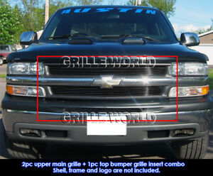 Fits 1999 2002 Chevy Silverado 1500 2000 2006 Tahoe Black Billet Grill Pack