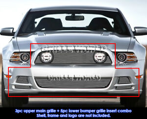Fits 2013 2014 Ford Mustang Gt Up Lower Fog Light Cover Billet Grill Combo