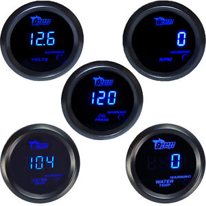 2 52mm Car Universal Digital Water Oil Temp Volt Tacho Gauge Meter Blue Led