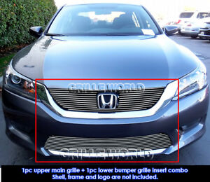 Fits 2013 2015 Honda Accord Sedan Billet Grill Insert Combo
