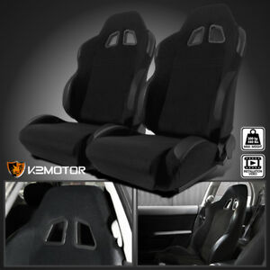 2x Black Cloth Pvc Leather Patch Edges Reclinable Sports Racing Seats W Sliders