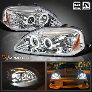 For 1999 2000 Honda Civic Clear Lens Led Halo Projector Headlights Lamps Pair