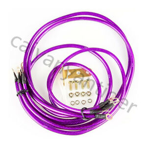 5 Pcs Purple Universal Car Suv Blue Ground Grounding Wire Cable Earth System Kit