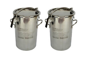 2x Temco 10 Liter 2 5 Gallon Stainless Steel Milk Can Wine Pail Bucket Tote Jug