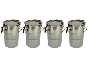 4x Temco 10 Liter 2 5 Gallon Stainless Steel Milk Can Wine Pail Bucket Tote Jug