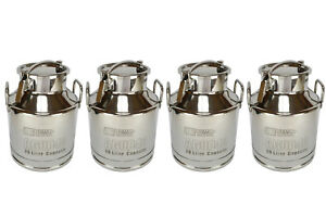 4x Temco 20 Liter 5 25 Gallon Stainless Steel Milk Can Wine Pail Bucket Tote Jug