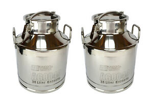 2x Temco 30 Liter 8 Gallon Stainless Steel Milk Can Wine Pail Bucket Tote Jug