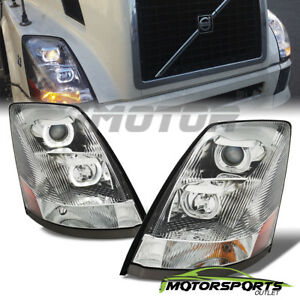 For 2004 2017 Volvo Vnl U Shape Style Led Drl Projector Chrome Headlights Pair