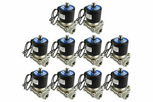 10 Lot 1 2 Npt Electric Stainless Steel Solenoid Air Water Valve Nc 110v Ac