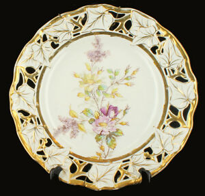 Antique Old Paris Hand Painted Reticulated Charger Plate Pretty Flowers 12