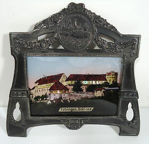 Vtg Antique Art Nouveau Jugendstil Pewter Picture Frame Reverse Painted Tubingen