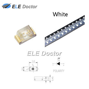 1000pcs Smd Smt 0402 1005 Led White Light Emitting Diodes Super Bright Chip