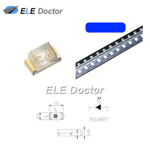 1000pcs Smd Smt 0402 1005 Led Blue Light Emitting Diodes Super Bright Chip