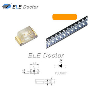 1000pcs Smd Smt 0402 1005 Led Orange Amber Light Emitting Diodes Chip