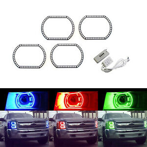 Wireless Rgb 7 Color Led Angel Eyes Halo Rings For Chevy Silverado Gmc Sierra