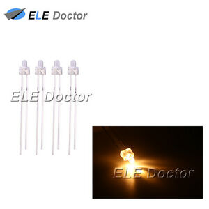 500pcs 2mm Water Clear Warm White Light Round Top Led Diodes 16000mcd