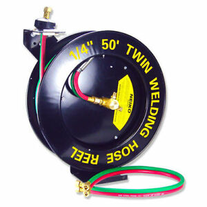 50ft Retractable Torch Welding Reel 1 4 Oxygen Acetylene Auto Rewind Twin Hose