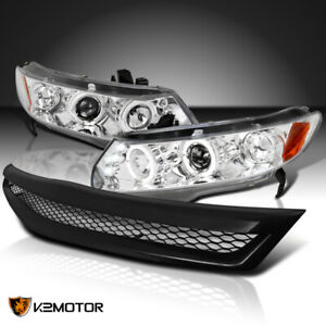For 2006 2008 Honda Civic 2dr Clear Halo Projector Headlights black Hood Grille