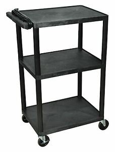 Luxor 42 inch Three Shelf Av Cart With Three Outlets And Cord Lp42e b Black New