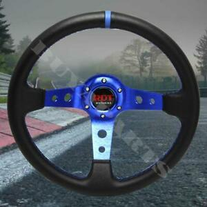 350mm Black Blue Drifting Deep Dish 6 Bolt Style Steering Wheel Blue Stitching