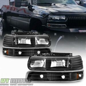 Black 1999 2002 Chevy Silverado 00 06 Tahoe Suburban Headlights Bumper Light