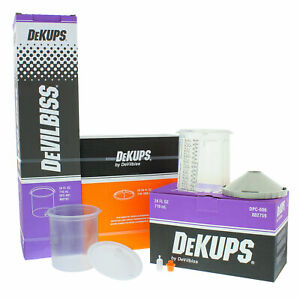 Devilbiss Dekups 24 Oz Starter Set Kit New Disposable Hvlp Paint Spray Gun Cups