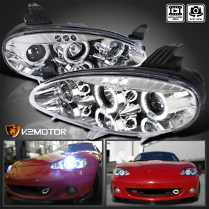 Fit 2001 2005 Mazda Miata Mx5 Crystal Clear Lens Led Halo Projector Headlights