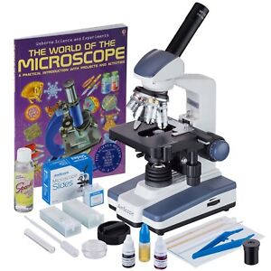 Amscope 40x 2500x Led Monocular Compound Microscope Slide Preparation Kit Bo