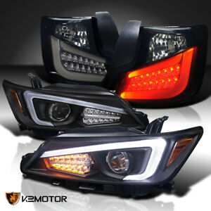 For 2011 2013 Scion Tc Led Signal Projector Headlights glossy Black Led Tail