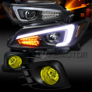 11 13 Scion Tc Black Projector Headlights W Led Signal Strip yellow Fog Lights