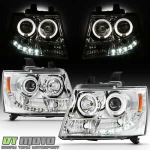 2007 2014 Suburban Tahoe Avalanche Drl Led Projector Halo Headlights 07 14 Lamps