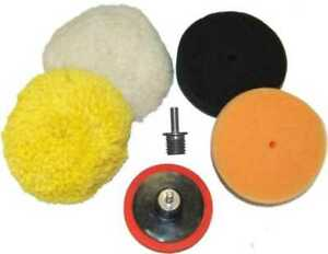 3 Buffing Pad Kit 4 Buff Polishing Pads Polisher Backing Plate Drill