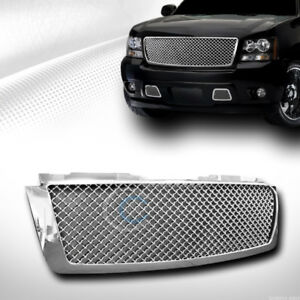 Fits 07 14 Chevy Tahoe Suburban Avalanche Chrome Mesh Front Bumper Grill Grille