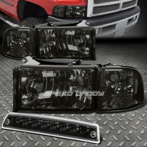 Smoke Headlight Clear Corner Black Led 3rd Brake Cargo Light For 94 02 Dodge Ram