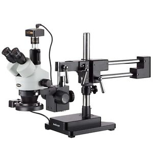 Amscope 3 5x 90x Trinocular Boom Stand Zoom Stereo Microscope 3mp Camera
