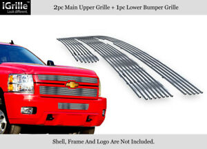 Fits 2011 2014 Chevy Silverado 2500hd 3500hd 304 Stainless Billet Grille Combo