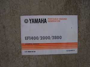 1985 Yamaha Portable Engine Generator Efi400 Efi2000 Efi2800 Owner Manual S