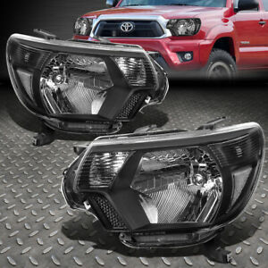 For 12 15 Toyota Tacoma Black Housing Clear Corner Headlight Replacement Lamps