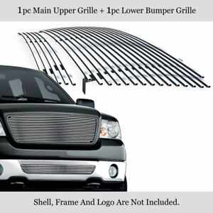 For 2006 2008 Ford F 150 304 Stainless Steel Billet Grille Combo