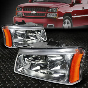 For 03 06 Chevy Silverado Avalanche Chrome Housing Amber Corner Headlight Lamps