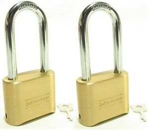 Lock Brass Master Combination 175lh lot Of 2 Long Shackle Resettable Secure