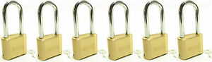 Lock Brass Master Combination 175lh lot Of 6 Long Shackle Resettable Secure