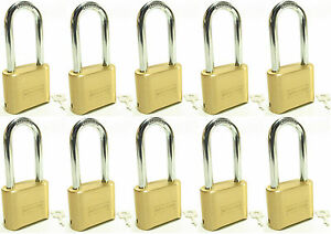 Lock Brass Master Combination 175lh lot Of 10 Long Shackle Resettable Secure