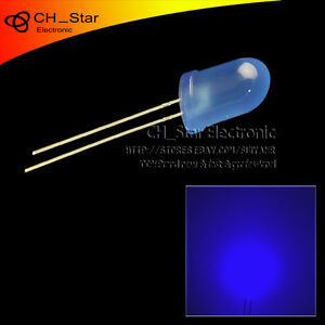500pcs Led 8mm Diffused Blue blue Round Top F8 Dip Light Emitting Diodes