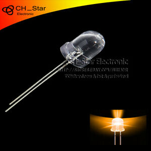 500pcs 10mm Led Water Clear Round Top Transparent Orange Amber Light Diodes