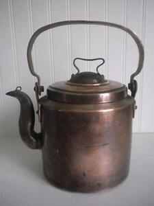 Large Antique Vintage Primitive Copper Tea Pot Kettle Teapot