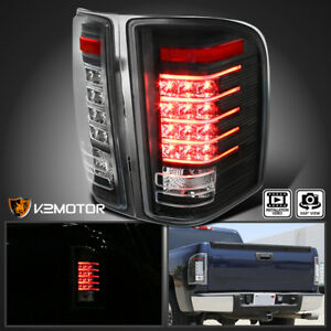 Black 2007 2014 Chevy Silverado 1500 2500 3500 Rear Brake Led Tail Lights Pair