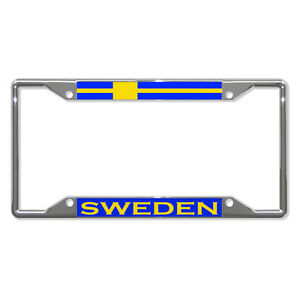 Sweden Flag Country Metal License Plate Frame Tag Border Four Holes